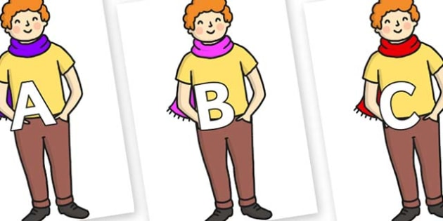 A-Z Alphabet on Enormous Turnip Boy - A-Z, A4, display, Alphabet frieze, Display letters, Letter posters, A-Z letters, Alphabet flashcards