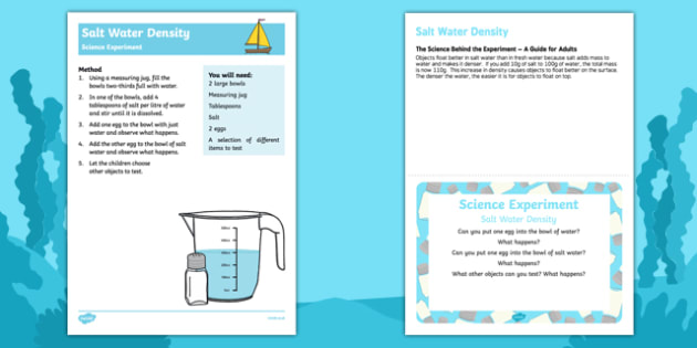 EYFS Salt Water Density Science Experiment and Prompt Card Pack