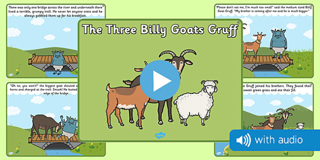 The Three Billy Goats Gruff Narrated Story - audio book, narrative, narration, spoken, told, traditional tale, ks1, key stage 1, early years, topic, english, literacy, book,