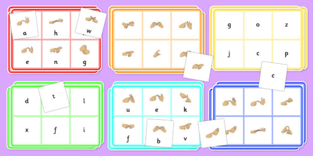 British Sign Language Alphabet Bingo And Lotto Game - bingo, game