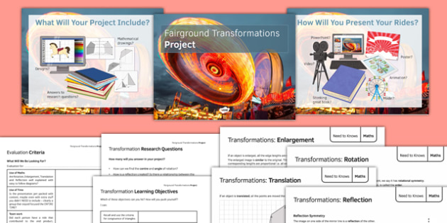 Fairground Transformations Project - maths, KS 3, KS 4, geometry, transformations, enlargement, reflection, translation, rotation, group work, project, design