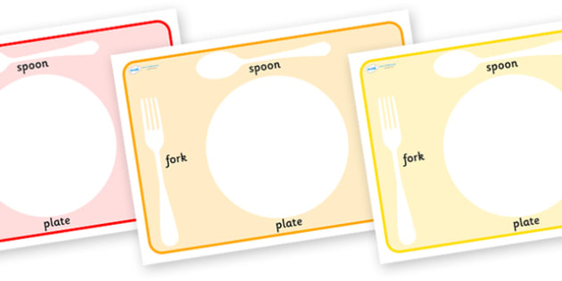 Plate and Cutlery Placemats - editable animal train, editable animal train placemats, animal train placemats, train placemats