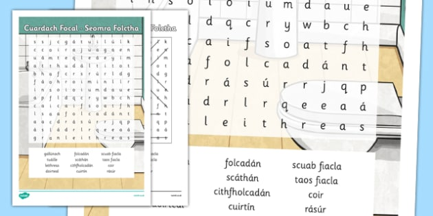 Irish Gaeilge Seomra Folctha Word Search - sa braille, home, house, word search, activity, sheets, spellings