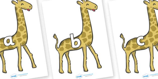 Phase 2 Phonemes on Giraffes - Phonemes, phoneme, Phase 2, Phase two, Foundation, Literacy, Letters and Sounds, DfES, display