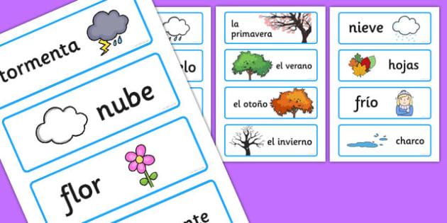 Tarjetas de vocabulario de las estaciones - tarjetas, vocabulario, estaciones