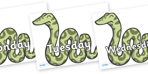 Days of the Week on Snakes - Days of the Week, Weeks poster, week, display, poster, frieze, Days, Day, Monday, Tuesday, Wednesday, Thursday, Friday, Saturday, Sunday