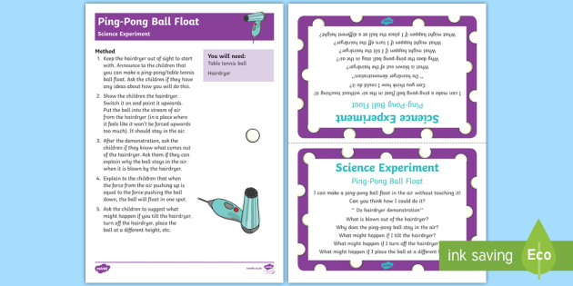 EYFS Ping-Pong Ball Float Science Experiment and Prompt Card Pack - Toys, table tennis, air pressure, Bernoulli, hairdryer, float, hover, fly, magic