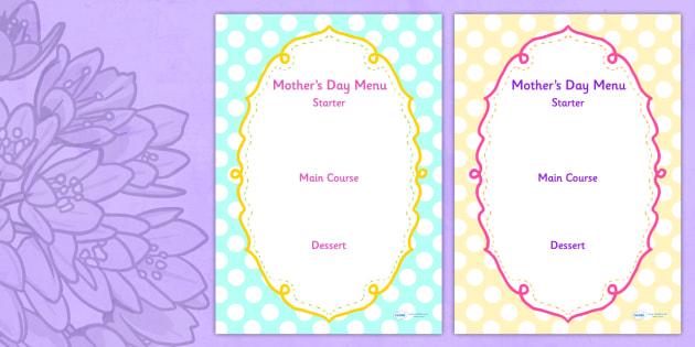 Mothers Day Menu Template - mothers day, menu, template, writing