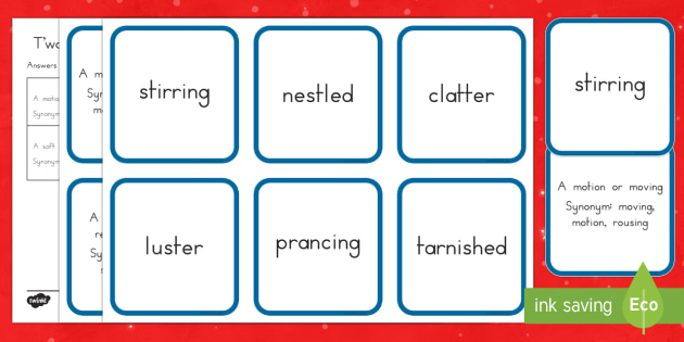 Twas the Night Before Christmas Vocabulary Matching Cards
