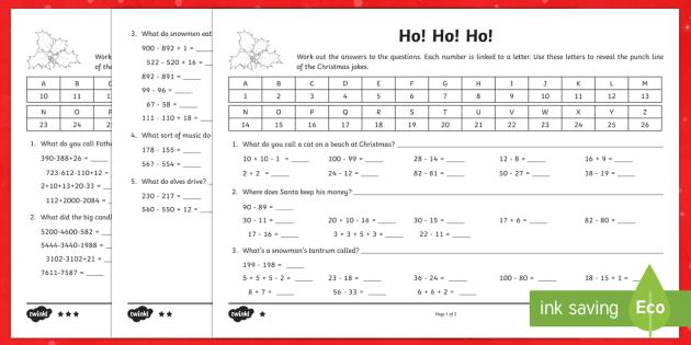 LKS2 Addition and Subtraction Christmas Joke Activity - Christmas, Nativity, Jesus, xmas, Xmas, Father Christmas, Santa, Christmas jokes, addition, subtract