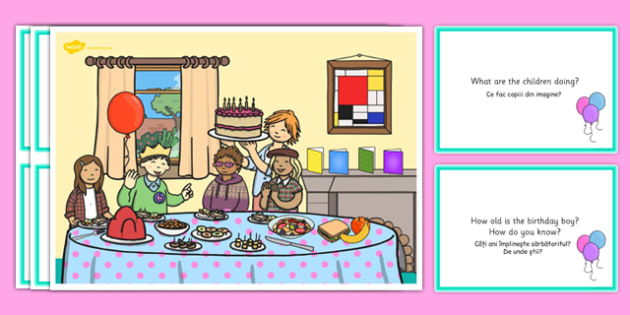 Birthday Party Scene and Question Cards Romanian Translation - romanian, birthday party, questions, comprehension pack