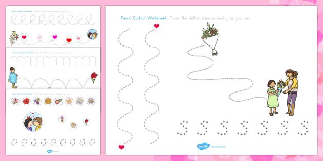 Valentine's Day Pencil Control Worksheets - australia, valentines