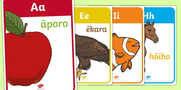 Māori Alphabet Tatai Pūriki Māori Display Posters