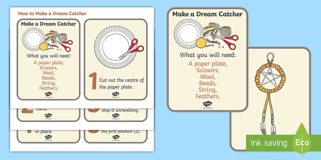 How to Make a Dreamcatcher Activity Cards - Native Americans, dreamcatcher, activity, aid,  Native Americans, indian, moccasin, bow and arrow, dream catcher, wild west