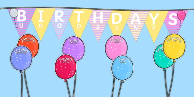Balloon Themed Birthday Display Pack Polish Translation - polish, birthday, display, pack