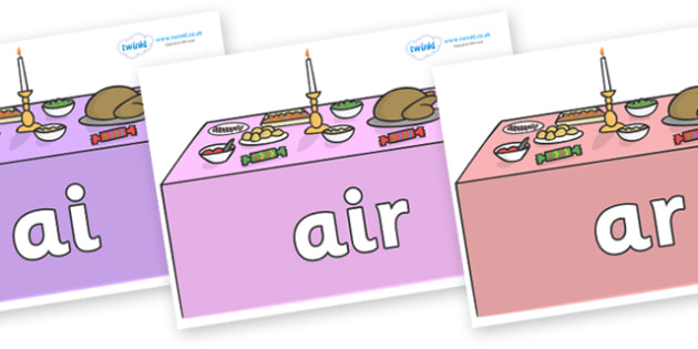 Phase 3 Phonemes on Christmas Dinner (Tables) - Phonemes, phoneme, Phase 3, Phase three, Foundation, Literacy, Letters and Sounds, DfES, display