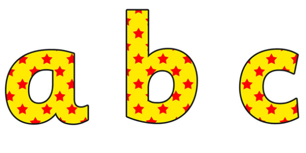 Yellow and Red Stars Lowercase Display Lettering - yellow and red stars, stars display lettering, lowercase display lettering, display alphabet