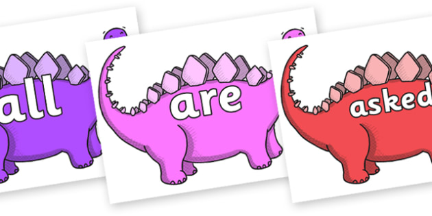 Tricky Words on Stegosaurus - Tricky words, DfES Letters and Sounds, Letters and sounds, display, words