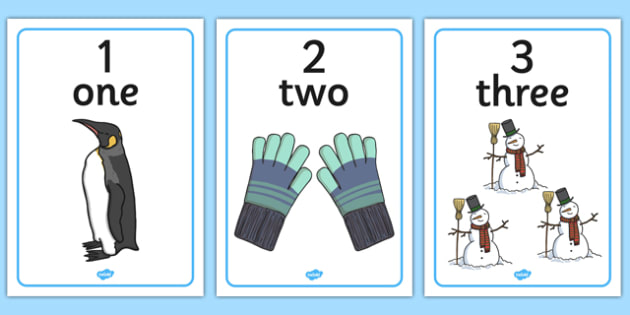 Winter Themed Number Posters with Words & Numbers (1-10) -  Winter, numeracy, counting, number poster, number words, display banner, polar, arctic, display, winter words, Word card, flashcard, snowflake, snow, winter, frost, cold, ice, hat, gloves, d