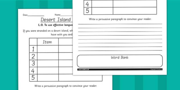Kensuke's Kingdom Desert Island Survival Worksheet - storybooks