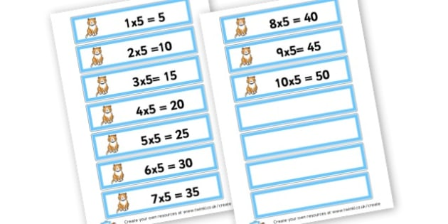 Cats 5 Times Tables Cards - Times Tables Primary Resources, multiply, times, number of, games, Times, Table, Tabe