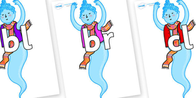Initial Letter Blends on Genie of the Ring - Initial Letters, initial letter, letter blend, letter blends, consonant, consonants, digraph, trigraph, literacy, alphabet, letters, foundation stage literacy