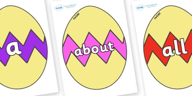 100 High Frequency Words on Easter Eggs (Cracked) - High frequency words, hfw, DfES Letters and Sounds, Letters and Sounds, display words