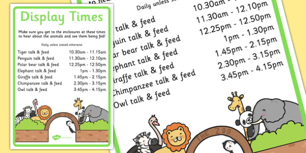 Zoo Display Times Signs - display times, role play, zoo, signs