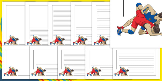 The Olympics Wrestling Page Borders - wrestling, Olympics, Olympic Games, sports, Olympic, London, page border, border, writing template, writing aid, writing, 2012, activity, Olympic torch, medal, Olympic Rings, mascots, flame, compete, events, tenn