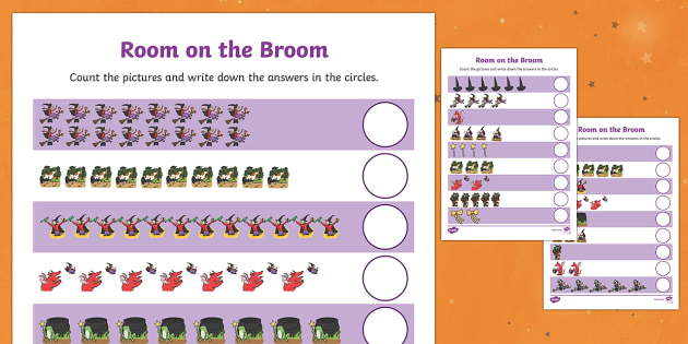 Counting Sheet to Support Teaching on Room on the Broom - room on the broom, counting sheet, counting, themed counting sheet, numbers, numeracy, maths, counting activities
