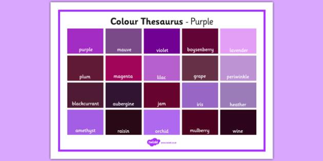 Colour Thesaurus Word Mat Purple - colour thesaurus, colour, thesaurus, word mat, word, mat, purple