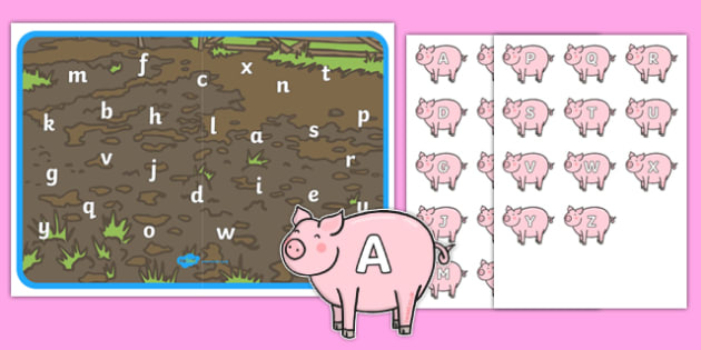 Pigs In Mud Capital and Lower Case Letter Matching Game - pigs in mud, capital, lowercase, letter, matching, game, activity