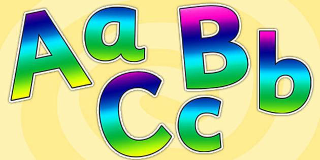 Rainbow Size Editable Alphabet Display Lettering - rainbow, size editable, editable, alphabet lettering, display lettering, rainbow lettering, alphabet