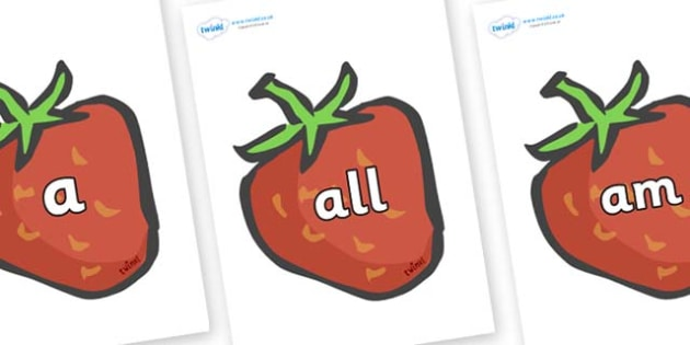 Foundation Stage 2 Keywords on Strawberries - FS2, CLL, keywords, Communication language and literacy,  Display, Key words, high frequency words, foundation stage literacy, DfES Letters and Sounds, Letters and Sounds, spelling