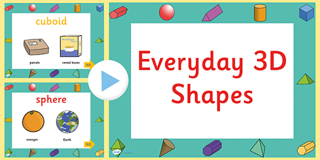 Every Day 3D Shapes PowerPoint - 3D, shapes, 3D shapes, powerpoint, shapes powerpoint, every day shapes, class discussion, discussion starter, group activity