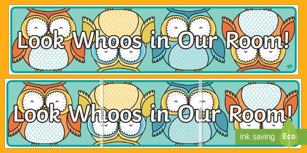 Owl Theme Registration Display Banner - New Zealand Back to School, Self Registration, sign in board, owl theme, set up classroom, beginning