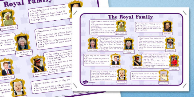 Royal Family Large Information Poster A2 - queen, queen elizabeth