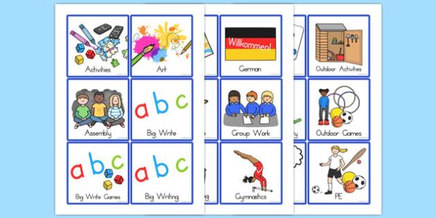 Level 1 Foundation to Year 2 Visual Timetable - australia, visual, timetable