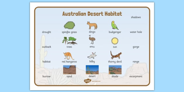 Australian Desert Habitat Word Mat - Science, Year 1, Habitats, Australian Curriculum, Desert, Outback, Living, Living Adventure, Good to Grow, Ready Set Grow, Life on Earth, Environment, Living Things, Animals, Plants, Word Mat