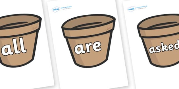 Tricky Words on Flower Pots (Plain) - Tricky words, DfES Letters and Sounds, Letters and sounds, display, words