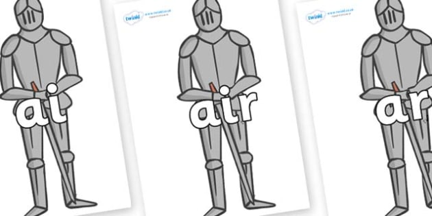 Phase 3 Phonemes on Suits of Armour - Phonemes, phoneme, Phase 3, Phase three, Foundation, Literacy, Letters and Sounds, DfES, display