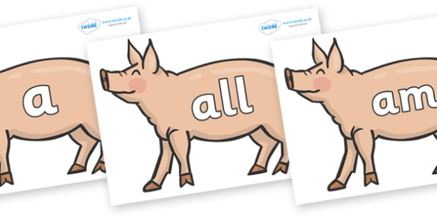 Foundation Stage 2 Keywords on Pig to Support Teaching on Pig in the Pond - FS2, CLL, keywords, Communication language and literacy,  Display, Key words, high frequency words, foundation stage literacy, DfES Letters and Sounds, Letters and Sounds, sp