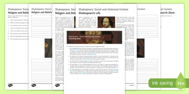Shakespeare Social and Historical Context Activity Pack