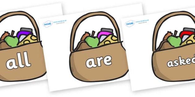 Tricky Words on Baskets - Tricky words, DfES Letters and Sounds, Letters and sounds, display, words