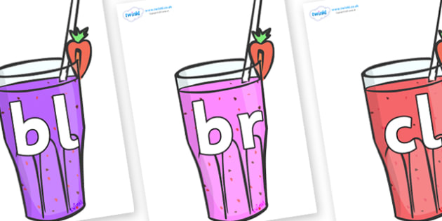 Initial Letter Blends on Smoothies - Initial Letters, initial letter, letter blend, letter blends, consonant, consonants, digraph, trigraph, literacy, alphabet, letters, foundation stage literacy