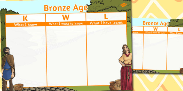 Bronze Age Topic KWL Grid - bronze age, topic, kwl, grid, know