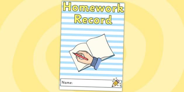 Homework Record Cover - home work, record, behaviour management