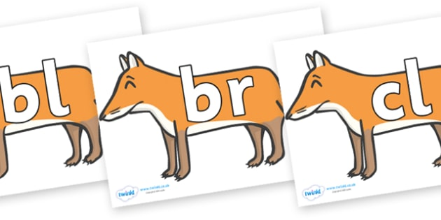 Initial Letter Blends on Foxes - Initial Letters, initial letter, letter blend, letter blends, consonant, consonants, digraph, trigraph, literacy, alphabet, letters, foundation stage literacy