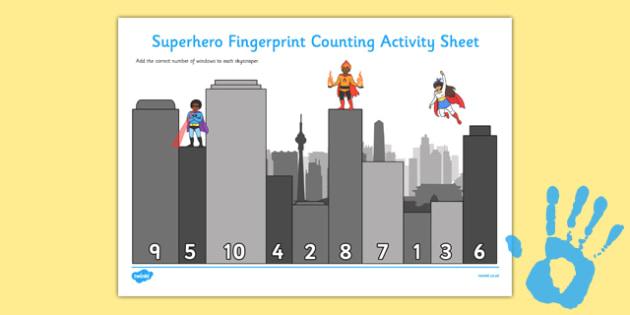 Superhero Fingerprint Counting Activity Sheet Pack - EYFS activities, number, EAD, worksheet