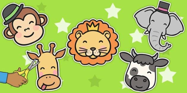 Animal Face Cut Outs - Animal, Face, Cut, Outs, Display